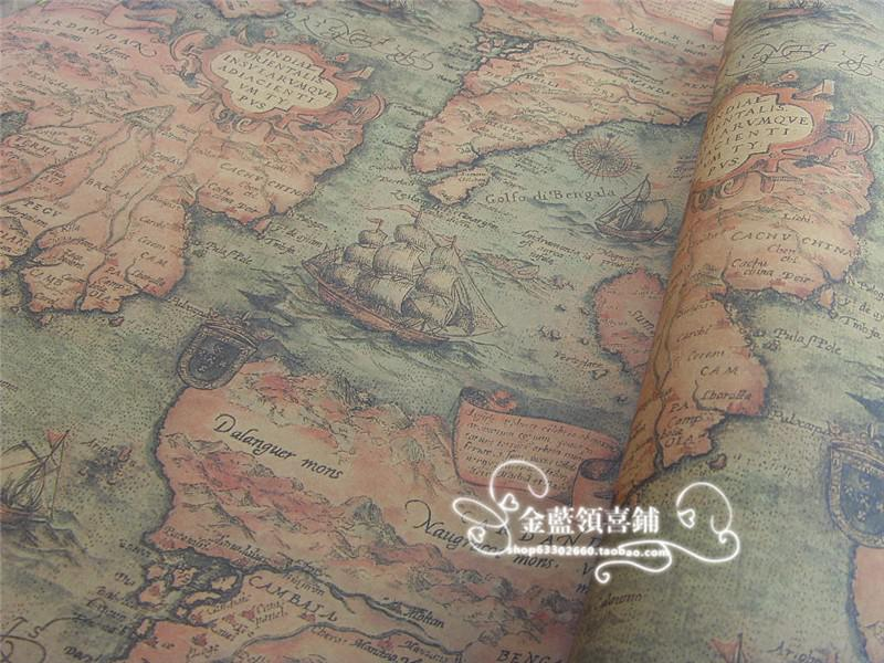 Vintage Map Gift Wrapping Paper Gift Packaging Wedding Favor Wrap DIY Material Wallpaper 30 Sheets 75*52cm
