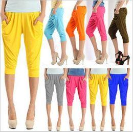 Wholesale Silk Harems - Women's Capri Harem Pants Ladies' Soft Ice Silk Capri Pants Girls' Fashion Candy Colors Stretchy Casual Trousers Free Shipping