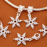 Wholesale Spacer Snowflake Beads - 100x Snowflake Silver Plated Dangle Pandent Big Hole Spacer Charm Beads Findings