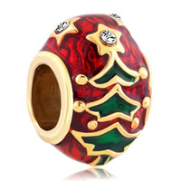 Wholesale Faberge Egg Plate - 50x Gold Plated Christmas Tree Easter Faberge Egg Beads Fits Charm Bracelet