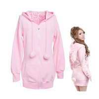 Wholesale Ladies Ear Hoodies - S5Q Lady Hot Fashion Cute Bunny Ears Warm Hoodie Sweatshirts Outerwear AAACSA