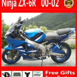 kawasaki ninja zx6r body kit NZ - 7 Gifts Fairing body kits for Kawasaki Ninja ZX6R 2000 2001 2002 blue black motorcycle fairings bodywork ZX636 00 01 02 ZX 6R 636 ZX-6R MY17