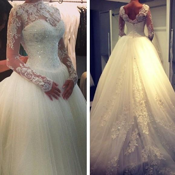 2014 High Neck Lace Long Sleeves Beaded Ball Gown Elegant