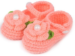 Wholesale Baby Ballet - Free shipping10pairs lot Crochet baby flower ballet shoes handmade infant booties toddler shoes 0-12M cotton