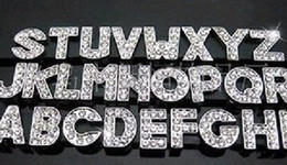 Wholesale Diy Full Rhinestone Letters - Good quality 8mm A-Z Full Rhinestone Slide letters Charm DIY Accessories fit pet collar 2080pcs