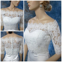 Wholesale Short Sleeve Bolero Shrug - Big Discount !!! 2017 Hot Sale- Off-Shoulder White Alencon Lace wedding jacket Bolero shrug bridal jacket Wedding Accessory TB003