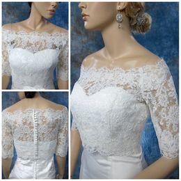 Wholesale Off Shoulder Shrug Wedding - Big Discount !!! 2017 Hot Sale- Off-Shoulder White Alencon Lace wedding jacket Bolero shrug bridal jacket Wedding Accessory TB003
