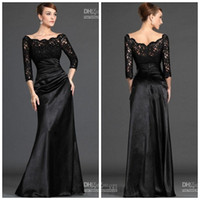 st images - 2017 New Arrival Mother Of Bride Dresses Custom Made Sleeve Black Lace Satin A line mother of Groom dress evening dress ST