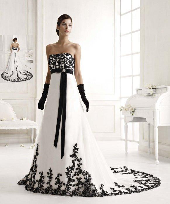 Großhandel Schönsten Schwarzweiß Brautkleider Mit Silk Sash ...