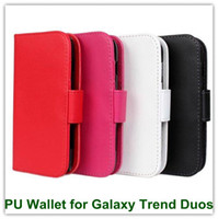 Wholesale Skin Galaxy Duos - 100PCS Elegant PU Leather Wallet Back Skin Cover for Samsung S7562 Galaxy Trend Duos Free Shipping