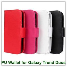 Wholesale Duos Wallet - 100PCS Elegant PU Leather Wallet Back Skin Cover for Samsung S7562 Galaxy Trend Duos Free Shipping