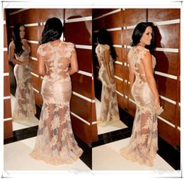 Canada 2015 dentelle pure robes de soirée formelles nu sexy dos dos capuchon manches sirène robes de fiesta Marianne Rabelo célébrité robe robes de bal cheap nude applique prom Offre