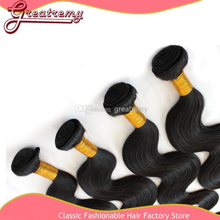 Queen Hair Products Brasilianska Virgin Hair / Remy Human Hair Weave Vågig Body Wave Gratis Frakt Naturlig Färg Dybar Doublel Weft