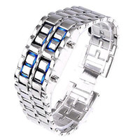 Wholesale Led Digital Binary Watch - S5Q Blue LED Metal Lava Digital Watch Bracelet Binary Wristwatch For Mens Ladies AAAAQZ