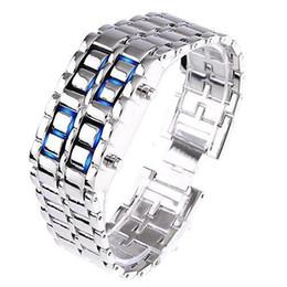 Wholesale Mens Metal Bracelets - S5Q Blue LED Metal Lava Digital Watch Bracelet Binary Wristwatch For Mens Ladies AAAAQZ