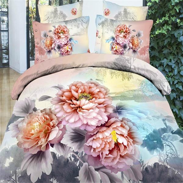 Wholesale - Elegant pink flower girls bedding set queen king size 100%Cotton 4pcs floral pattern comforter/duvet cover bed sheet bedclothes
