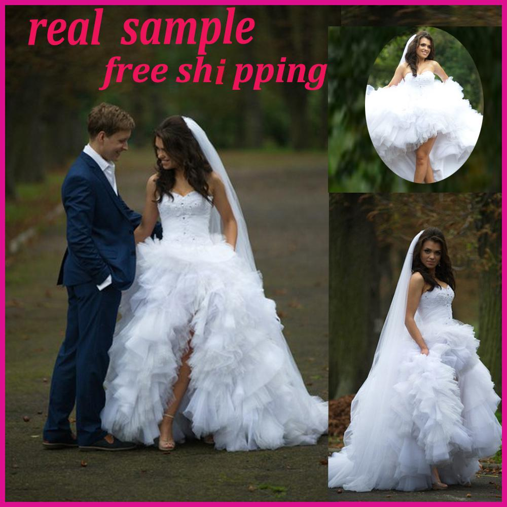 Real Sample High Low Sweetheart Wedding Dresses Lace Shining Rhinestone  Bodice Tiered Tulle Chapel Train Charming White Brides Gown One Shoulder  Wedding Dress Online Wedding Dresses From Masonbridal, $159.87| DHgate.Com