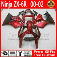 aftermarket kawasaki ninja verkleidungen großhandel-7 Geschenke Customize Verkleidung Kit für Ninja ZX6R 2000-2002 Kawasaki Verkleidung ZX-6R 636 rot schwarz Aftermarket Teile ZX 6R ZX636 00 01 02 MY60