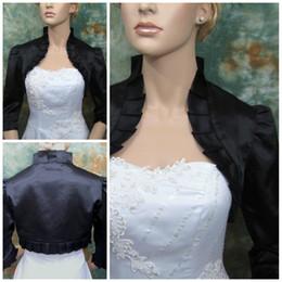 Wholesale Ivory Taffeta Wedding Bolero - Custom Made 2017 Black 3 4 sleeve satin wedding bolero jacket shrug Wedding Jacket Bridal Bolero Wedding Accessory Cheap TB014