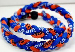 Wholesale Ge Titanium Necklaces - Promotion - 350PCS Lot Baseball Sports Titanium 3 Rope Braided Blue Blue Orange Sport GE Necklace RT007