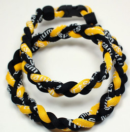 Wholesale Titanium Germanium Rope - Wholesale - 350pcs lot 3 Ropes braided Necklace Germanium&Titanium Healthy Black Yellow Necklace sport necklace RT065