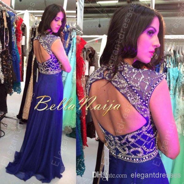 Best selling 2019 Sexy Inspired Beaded Bodice Blue Chiffon Prom Dresses/ Evening dresses With Cap Sleeves ZA114
