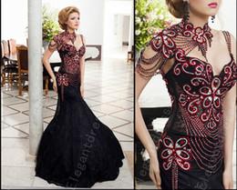 Meilleures robes de bal noir en Ligne-Meilleure vente 2017 magnifique corsage perlé sirène robes de bal noir / robes de soirée avec mancherons ajustés robes de bal