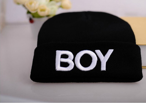 Winter Children Caps The Embroidery Letter BOY Kids Beanies Cap Thicken Warm Knitted Baby Boy Girl Hats Child Hat QZ461