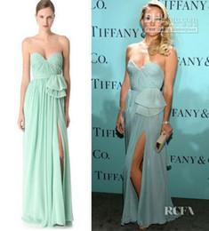 Wholesale Kate Hudson Black Long Dress - New Custom Made Kate Hudson Sweetheart Evening Dresses 2016 Featured Tie Blue Chiffon Side Slit Floor-Length