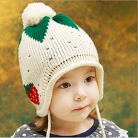 Wholesale Knitted Strawberry Girls Hat - Fall Winter New Style Strawberry Children's Caps With Earmuffs Warm Wool Knitted Kids Hats Baby Hat Boy Girl Children Cap QZ462