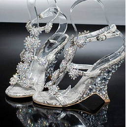 Wholesale Silver Bridal Shoes Wedges - Evening Prom Party Dresses Lady Bridal Wedding Shoes Female Wedge Heel Sandals banquet princess diamond crystal shoes