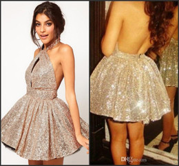 Wholesale Chiffon Pageant Cocktail - Sexy 2017 New Cocktail Dresses Halter Seqins Backless A Line Short Mini Shiny Blingbling Above Knee Homecomming Prom Pageant Party Gowns