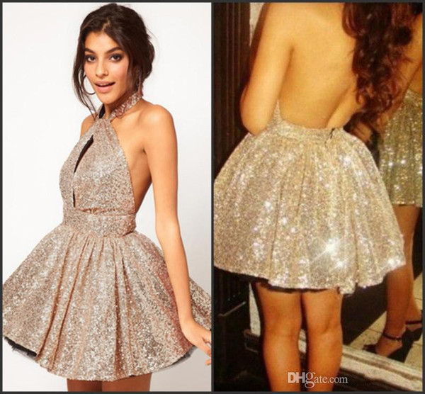 Sexy 2017 New Cocktail Dresses Halter Seqins Backless A Line Short Mini Shiny Blingbling Above Knee Homecomming Prom Pageant Party Gowns