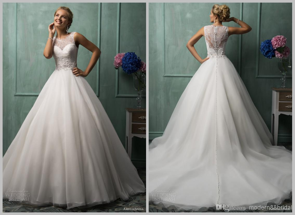 Discount 2015 Sheer Illusion Back Lace Wedding Gowns Amelia Sposa
