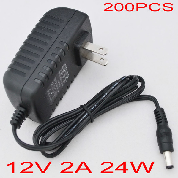 200pcs/lot AC 100-240V to DC 12V 2A EU or US or UK Plug AC/DC Power adapter charger Power Supply Adapter for Led Strips Lights FREE