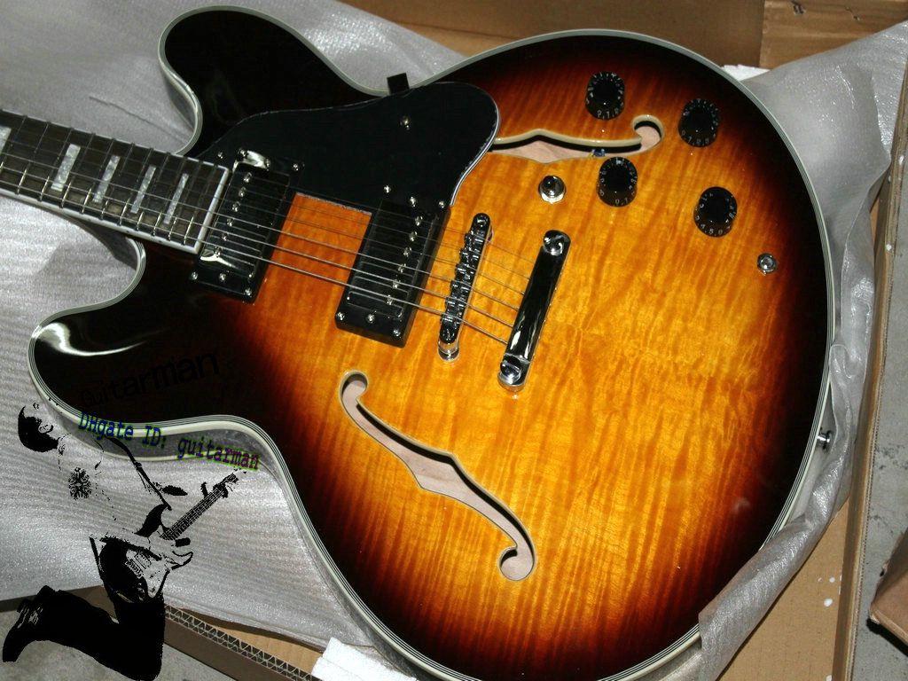 best selling new custom 335 sunburst hollow body electric guitar best electric guitar strings. Black Bedroom Furniture Sets. Home Design Ideas