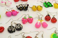 ohrringe fimo großhandel-FREE Ohrring Modeschmuck Großhandel gemischte Lose handgemachte 3D Fimo Polymer Clay versilbert Haken Ohrringe wählen Sie Menge