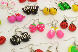 Wholesale American Polymers - FREE Earring Fashion Jewelry Wholesale Mixed Lots Handmade 3D Fimo Polymer Clay Silver plated hook Earrings Choose Quantity