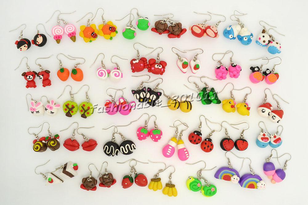 FREE Ohrring Modeschmuck Großhandel gemischte Lose handgemachte 3D Fimo Polymer Clay versilbert Haken Ohrringe wählen Sie Menge