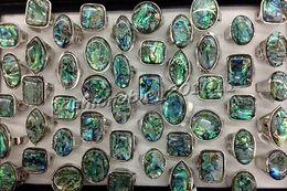 Canada Lot de gros mixte surdimensionné naturel abalone coquille pierre gemme argent p anneau Offre