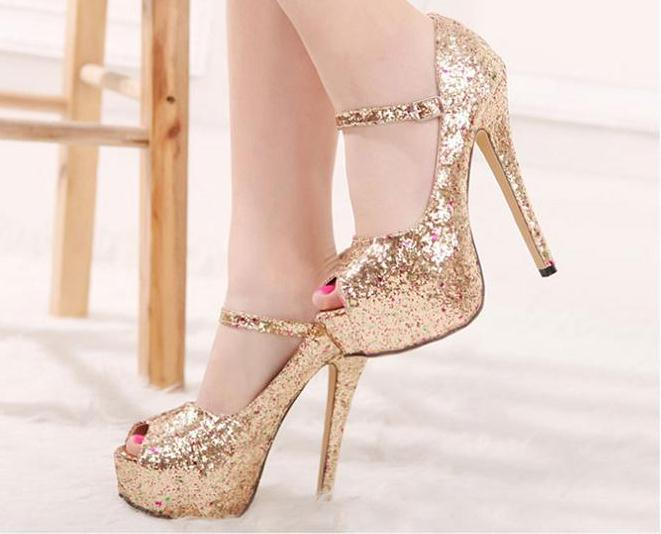 2014 High Heel Dress Shoes Gold Silver Color Sequins 1prs 0408s2 ...