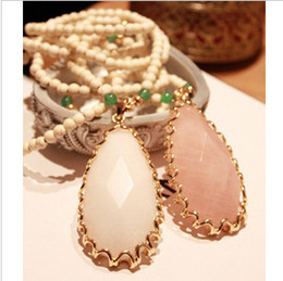 Wholesale Wholesale Thai Handmade - Thai handmade white jade natural stone beaded pendant necklace fashion long paragraph sweater chain jewelry semi-precious stonesnecklaces &