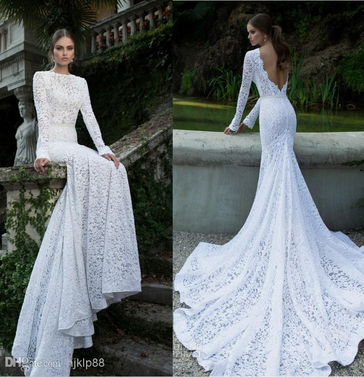 White Vintage Lace Bateau Ribbon Backless Mermaid Berta Bridal