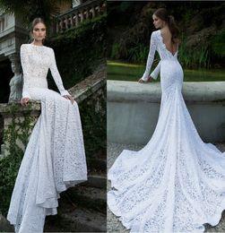 Wholesale Pretty Wedding Gowns - White Vintage Lace Bateau Ribbon Backless Mermaid Berta Bridal Winter Long Sleeve Wedding Dresses Wedding Gowns Pretty Bridal Wedding Dress