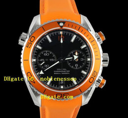Wholesale Orange Bezel Dive Watch - Luxury Men's SEA orange BEZEL PLANET OCEAN CHRONOGRAPH SS XL Quartz Movement Professional AAA Top quality Mens Watch Dive Sport Watches