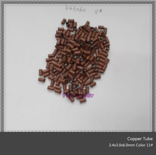 3.4x3.0x6.0mm 7000 unités par lot anneau évasé en cuivre se verrouille facilement / tube de cuivre micro lien / anneau / perle pour l'extension de cheveux
