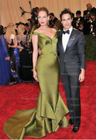 Wholesale Sexy Hunter Costumes - 2013 Met Ball(Costume Institute Gala) Sexy Mermaid Evening Dress Backless Satin Celebrity Dresses with Cathedral Train Pleat Ruffles Dhyz 01