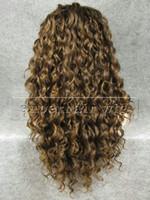 perruque brune frisée achat en gros de-26