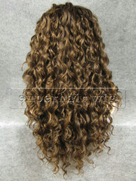 "Wholesale Hair Front Highlights - 26"" Extra Long #8 27 Highlighted Brown Curly Heat Friendly Synthetic Hair Lace Front Wig"