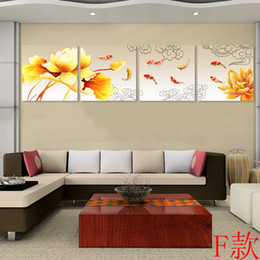 Wholesale Chinese Picture Art - Framed 4 Panel Large Chinese Koi Fish Canvas Painting 4 Piece Wall Art Feng Shui Interior Decoration Black Dragon Fish XD01881